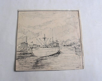 vintage 60's original pen drawing, boat KyraMartha signed by I. Koufos captain of KyraMartha