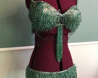 1940's 1950's Mermaid Green Burlesque Costume S-M 32B-C 34 Waist