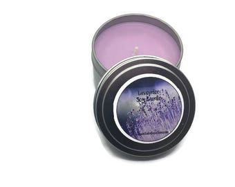 Lavender Soy Candle - Aromatherapy - Essential Oil - Purple Candle - Light Purple - Housewarming Gift - Home Decor - 8 oz Candle