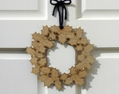 Plywood Holly Wreath - laser cut Winter decoration in press out template