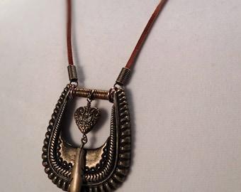 Western belt buckle necklace, Belt buckle necklace, Brass buckle necklace, repurposed buckle necklace, Western buckle & heart pendant
