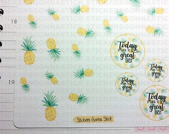 Watercolor pineapple Stickers   Ideal for planners, calendars, scrapbooks, journals and more