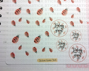 Watercolor ladybug Stickers  Ideal for planners, calendars, scrapbooks, journals and more