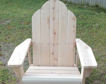 Cedar adirondack chair, Pine adirondack chair, wood lawn chair, wood deck chair, wood patio chair, wood adirondack chair
