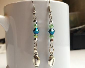 Seahawks Earrings, Seattle Seahawks Earrings, Seattle Seahawks Jewelry, Football Earrings, Football Jewelry, Football Charm, Silver, Crystal
