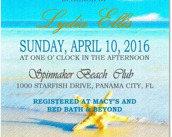 5x7 Printable Beach Bridal Shower Invitation- Any Occasion- Soft Effect- Textured Background-Watercolor Effect- Pastel