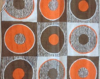 Kreier 100% Cotton Handkerchief - Geometric Design in Black, Orange, Grey and White - New and Unused From Vintage 1970 Stock