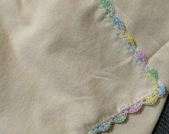 Sugarplum baby recieving blanket with crochet trim