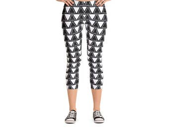 Modern Geometric Triangle Leggings - Women's Active Wear Pants - Zen Fun Yoga Pants - Sizes XS to XL - Polyester/Spandex - Gift Idea for Her