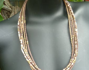 Beautiful brown and cream beads with brass six multistrand necklace,Trandy and tribal adjustable accessories.