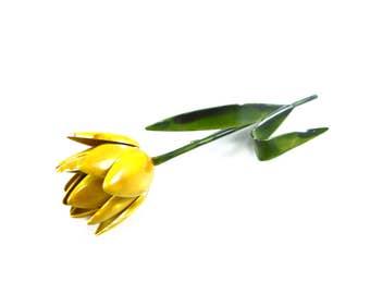 Flower Brooch, Vintage Flower Brooch, Yellow Flower Brooch