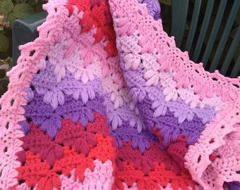 Crochet Baby Blanket Pink Purple blanket Baby Afghan Baby Shower Gift Cover for Baby Girl Photography Prop Crib Blanket New baby gift