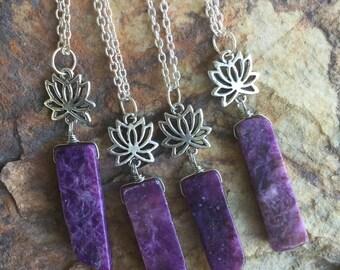 Lepidolite lotus flower necklace, lepidolite necklace, lotus flower necklace