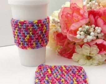 Multi-Colored Crochet Cup Cozy:  Coffee Tea Sleeve   [080]