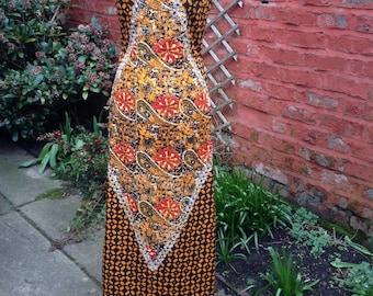 Batik Print Maxi Dress.  Indonesian Style Wiggle Dress