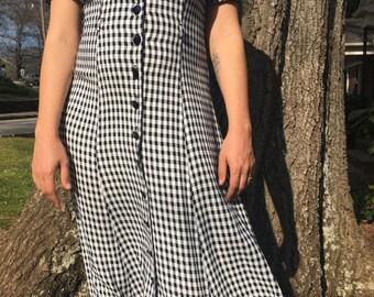80s Black and White Check Dress // Vintage Check Print Dress // Size M