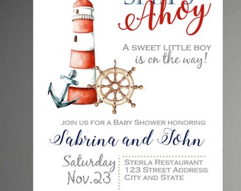 50% off Ships Ahoy Baby Shower Invitation, Ships Ahoy Shower, Ships Ahoy Invitation, Ships Ahoy Shower invite, Back included- printed