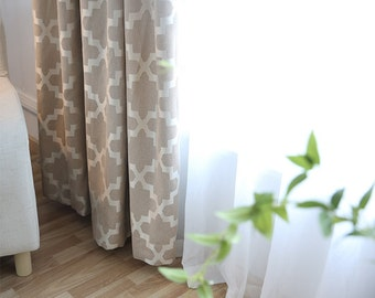 Geometric Curtains, 90% Blackout rate, Gold Curtains, one pair.