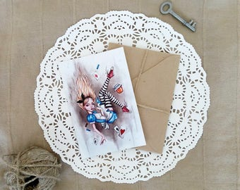 Alice in Wonderland - Postcard-Fairy Tale-Print-Falls into the hole