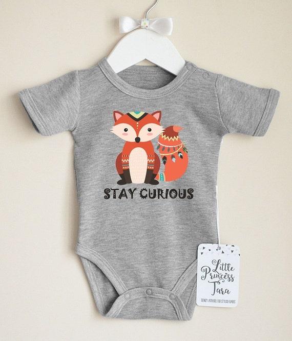 Tribal Fox Baby Clothes Boho Fox Baby Bodysuit Cute Baby