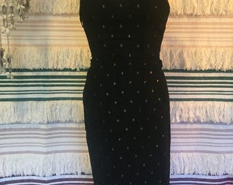 Vintage Made in PARIS France 70s/80s Sweetheart Strapless Black Metallic Lurex Spots Party Dress