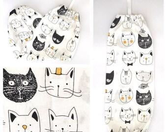 Plastic Bag Holder/ Grocery Bag Holder/ Bag Dispenser - Cute Cats White
