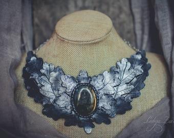 oak Leaf Bib necklace  Statement necklace large  silver necklace labradorite necklace polymer clay necklace large necklace  massive necklace