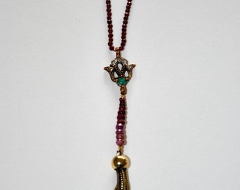 Vintage necklace, micro Ruby and old 1950s pendant