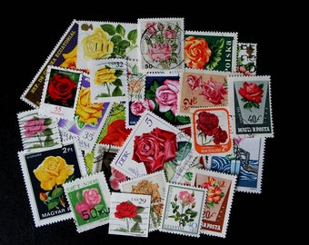 FREE SHIPPING ; 25 Different colorful vintage used worldwide postage stamps depicting ROSES for collecting, scrapbook pages, collages etc.