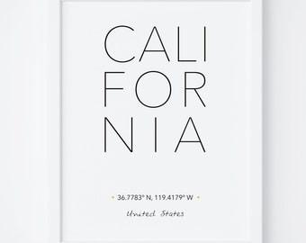 California Print, California Poster, California Wall Art, California Printable, California Art, City Coordinates, Typography art, Wall Art