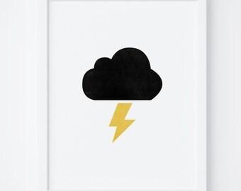 """Printable Art """"Cloud Print"""", Nursery Print, Lightning Art, Instant Download, Lightning Print, Cloud Art, Wall Art, Nursery Decor, Kids Room"""