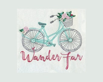 Wander Far Sketchy Bicycle and Flowers  Embroidery Design - Instant Digital Download