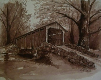 Covered Wooden Bridge,Rocky Ledge, 16 x 20 Original Watercolor,ONE OF A KIND, Not a Print