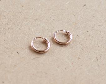 8 mm - Copper Plated Tiny Hoop Earrings, 925 Sterling Silver, Loop earrings, Tiny Cartilage Hoops , Minimalist Jewelry, Helix - MI.21/HP46
