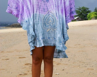 Tie dye Summer Poncho/Festival Bohemian Poncho/Beach poncho/Embroidery Short Dress * MACEIÓ PONCHO