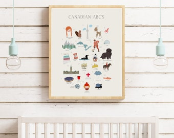 Canadian ABC Wall Art Print - Canada 150 Wall Art - Kids Room Decor - Canada 150 - Nursery ABC Print - Alphabet Poster - ABC Wall Art