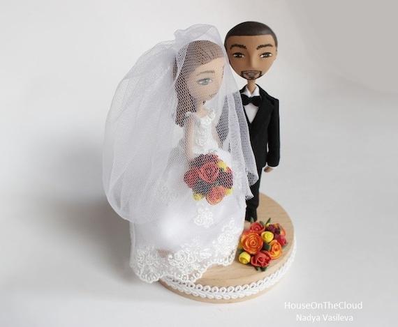 Cake Topper Figurine Wedding Caketop Miniature Cake Figurine Brides Grooms Clay Doll Wedding Decoration Custom Rustic  Summer Wedding