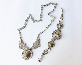 Silver Filagree Sombrero Mexican Hat Necklace and Bracelet Set