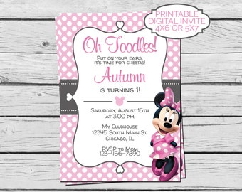 Pink Minnie Mouse Birthday Invitation - Digital File