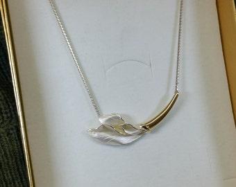 Designer partly gold plated necklace 925 Silver CNP vintage SK941