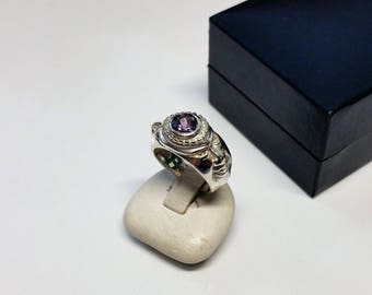 15.5 mm ring 925 Silver purple Crystal unique SR805