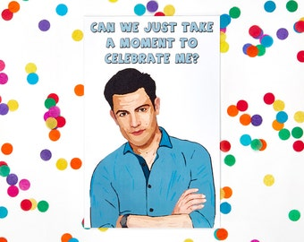 New Girl Birthday Card, Schmidt, Jessica Jess Day, Blank Card, Zooey Deschanel, Nick Miller, Funny Card, Humor Card (100% Recycled Paper)