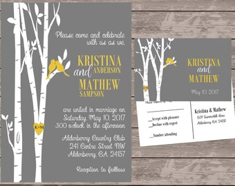 grey and yellow love bird invitation set, personalized wedding invitations, birds in tree wedding invite, custom wedding invitations