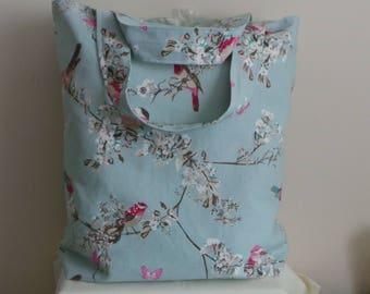 Fabric, Tote, Shopper, Bag, Birds, Blue, Lined, Pocket, Deep, Fold up,