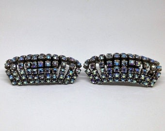 Shoe Clips, Vintage Signed Pair of Musi Shoe Clips, 11 Rows of AB Rhinestones, Iridescent Rhinestone Shoe Clips