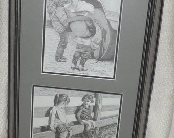 Vintage (c.1994) signed and dated Western Art pencil sketches. Wooden frame, matted: Boys Will Be Boys & Potty Break by Bernie BJ Brown