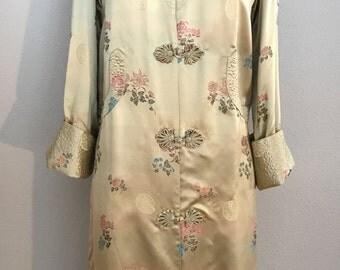 1960's Gold Chinese Silk Brocade Jacket Coat Deadstock- Meduim