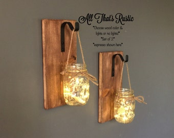 Set of 2 Hanging Mason Jar Sconces, Mason Jar Sconce, Mason Jar Decor, Rustic Decor, Housewarming Gift, Lighted Mason Jars