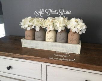 Rustic Table Centerpiece, Large 5 Jar Centerpiece, Rustic Home Decor, Rustic Decor, Mason Jar Decor, Painted Mason Jars, Distressed Decor