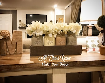 Rustic Home Decor, Rustic Centerpiece, Mason Jar Centerpiece, Mason Jar Decor, Planter Box, Neutral Toned Mason Jars, Rustic, Home Decor